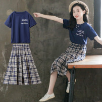 Dress YD Navy (skirt without lining), BM Navy (skirt with lining) female Other / other 110 for 98-108cm, 120 for 108-118cm, 130 for 118-126cm, 140 for 126-136cm, 150 for 136-145cm, 160 for 145-155cm, 170 for 155-165cm Cotton 95% other 5% summer leisure time Short sleeve lattice cotton A-line skirt
