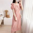 Dress Summer 2020 Red Plaid Dress S,M,L,XL singleton  Short sleeve commute lattice 18-24 years old Type H
