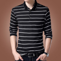 T-shirt Youth fashion Black, white routine M,L,XL,2XL,3XL Partridge Long sleeves Lapel Self cultivation Other leisure Four seasons youth routine Business Casual Cotton wool 2020 stripe Color contrast cotton Fashion brand 90% (inclusive) - 95% (inclusive)