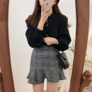 Dress Autumn 2020 Off white sweater (one size), black sweater (one size), off white sweater + coffee skirt, black sweater + grey skirt, coffee skirt, grey skirt S,M,L,XL Short skirt Two piece set Long sleeves commute Polo collar High waist Single row two buttons Ruffle Skirt 18-24 years old