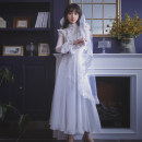 Dress Spring of 2019 white S,M,L longuette singleton  Long sleeves commute stand collar middle-waisted Solid color zipper Other / other Retro Stitching, mesh, lace