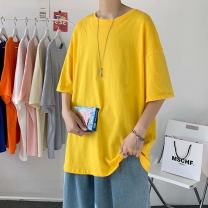 T-shirt Youth fashion Shell yellow sleeve, khaki sleeve, royal blue sleeve, red sleeve, orange sleeve, light grey sleeve, medium grey blue sleeve, black sleeve, white sleeve, white short T, black sleeve + white sleeve, black sleeve + black sleeve, white sleeve + white sleeve routine S,M,L,XL,2XL easy