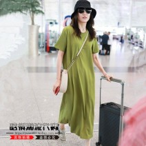 Dress Summer 2021 green S,M,L,XL longuette singleton  Short sleeve commute Crew neck Loose waist Solid color Socket A-line skirt routine 25-29 years old Type H Korean version Splicing 81% (inclusive) - 90% (inclusive) cotton