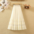 skirt Summer of 2018 Average size Mid length dress commute High waist Pleated skirt Solid color Type A 8055# Pleats, gauze, stitching, lace Korean version