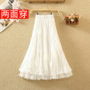 skirt Autumn 2020 Average size Black, white Mid length dress commute High waist Cake skirt Solid color Type A 8065# Lace Hollowed out, pleated, stitched, lace Korean version