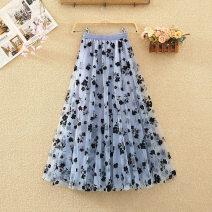 skirt Summer 2020 Average size White, black, apricot, coffee, blue, purple Mid length dress commute High waist A-line skirt Broken flowers Type A 8175# Gauze Korean version