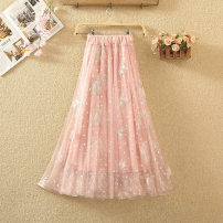skirt Summer 2020 Average size White, black, pink, apricot Mid length dress commute High waist A-line skirt Solid color Type A 8012# Embroidery, nail bead, gauze net Korean version