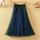 skirt Summer 2020 Average size Blue green, blue purple, silver red Mid length dress Versatile High waist A-line skirt Solid color Type A 9501# Pleat, web