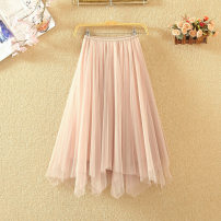 skirt Spring 2020 One size fits all (elastic waist) Apricot, black, grey Mid length dress commute High waist Irregular Solid color Type A 9201# 71% (inclusive) - 80% (inclusive) other Asymmetry, web Korean version