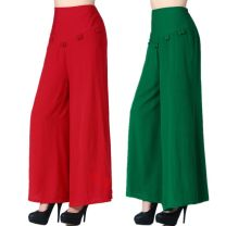 Casual pants Black, red, green, green thick, black thick, red thick 3XL (2-6-2-8), 4XL (2-8-3), XL (2-2-3), 2XL (2-3-2-6) Summer 2020 Ninth pants Wide leg pants High waist commute Thin money Korean version