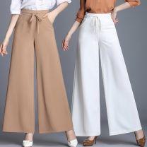 Casual pants 998 # white, 998 # red, 998 # light burnt sugar, 998 # green, 998 # light camel, 998 # black 31 [waist 2'4], 32 [waist 2'5], 33 [waist 2'6], 34 [waist 2'7], 27 [waist 2'1], 28 [waist 2'2], 30 [waist 2'3] Summer 2021 trousers Wide leg pants High waist Versatile Thin money pocket