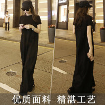 Dress Summer of 2018 Black, black [036 pocket free] S,M,L,XL,2XL,3XL longuette singleton  Short sleeve commute Crew neck Loose waist Solid color Socket A-line skirt routine Breast wrapping 18-24 years old Type A Other / other Korean version pocket GD036 91% (inclusive) - 95% (inclusive) knitting