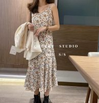 Dress Spring of 2018 Apricot, black, pink, coffee Average size longuette singleton  Short sleeve commute Crew neck High waist Decor Socket A-line skirt other Others 18-24 years old Type H Korean version printing 2-17-33-6218 More than 95% other