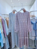 Dress Spring 2021 Violet, blue, pink, purple, yellow Average size longuette singleton  Long sleeves commute square neck High waist Decor Socket routine Others 18-24 years old Type A Korean version Stitching, folding 3-2-24 More than 95% Chiffon other