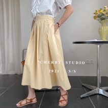 skirt Summer 2021 Average size White, apricot, yellow, green, light blue, lake blue, black, orange Mid length dress commute High waist A-line skirt Solid color Type A 18-24 years old More than 95% cotton Korean version