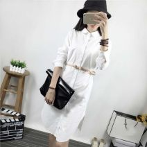 shirt White, black S,M,L Spring 2021 cotton 96% and above Long sleeves commute Medium length Polo collar routine Solid color 25-29 years old Straight cylinder Korean version