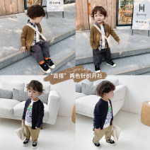 Sweater / sweater 1y (80cm), 2Y (90cm) models try on, 3Y (100cm), 4Y (110cm), 5Y (120cm), 6y (130cm), 7Y (140cm) cotton male Dark grey blue, light mustard green YUNERMA Simplicity There are models in the real shooting Single breasted routine Crew neck nothing Ordinary wool Solid color