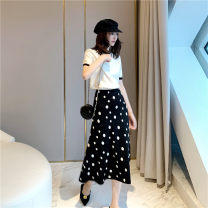 skirt Summer of 2019 Average size Black and white, apricot and coffee Mid length dress street High waist A-line skirt Dot Type A LS8-2960 Europe and America