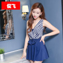 one piece  Junfei XL / 160 for 88-105 kg 2XL / 165 for 105-125 kg Red stripe blue stripe Skirt one piece With chest pad without steel support Nylon polyester others Spring 2020 no female Short sleeve Casual swimsuit