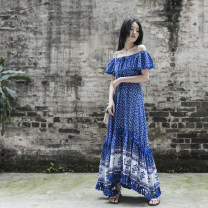 Dress Summer 2021 blue longuette singleton  Short sleeve commute One word collar High waist Broken flowers Socket Big swing pagoda sleeve camisole 25-29 years old Type X Other / other ethnic style 81% (inclusive) - 90% (inclusive) other cotton