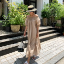 Dress Spring 2021 Khaki, black M,L,XL Mid length dress singleton  elbow sleeve commute One word collar Loose waist Solid color Socket Big swing puff sleeve Others Type A Other / other Korean version Fold, Auricularia auricula 71% (inclusive) - 80% (inclusive) cotton