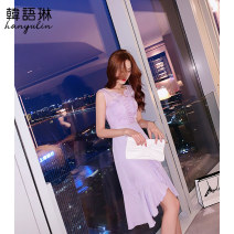 Dress Summer 2020 violet S M L Mid length dress singleton  Sleeveless commute V-neck High waist stripe zipper Ruffle Skirt other Others 25-29 years old Type A Korean Lin space Korean version Lace and bright silk stitching zipper 02TL20783 More than 95% polyester fiber Polyester 100%