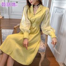 Dress Spring 2021 yellow S M L Mid length dress singleton  Long sleeves commute Polo collar High waist Solid color zipper A-line skirt bishop sleeve Others 25-29 years old Type A Korean Lin space Retro Pleated zipper TL17877 More than 95% other polyester fiber Polyester 100%
