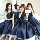 Dress / evening wear Wedding, adulthood, party, company annual meeting, performance, routine, appointment XXL,XS,S,M,L,XL fashion Medium length middle-waisted Spring of 2018 Skirt Princess One shoulder Brocade, silk, plain satin, poplin 18-25 years old Short sleeve Solid color Princess sleeve other