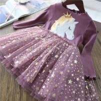 Dress Pink Unicorn, purple unicorn, Black Unicorn female Other / other 100cm,110cm,120cm,130cm,140cm Other 100% spring and autumn Korean version Cartoon animation cotton Class B 12 months, 2 years old, 3 years old, 4 years old, 5 years old, 6 years old, 7 years old, 8 years old
