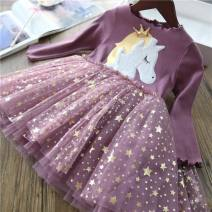 Dress Pink Unicorn, purple unicorn, Black Unicorn female Other / other 100cm,110cm,120cm,130cm,140cm Other 100% spring and autumn Korean version Cartoon animation cotton Class B 12 months, 2 years old, 3 years old, 4 years old, 5 years old, 6 years old, 7 years old, 8 years old
