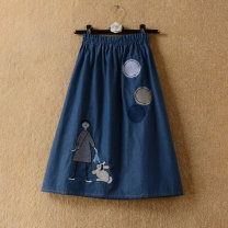 skirt Autumn of 2019 Average size Mid length dress commute High waist Denim skirt Cartoon animation Type A 18-24 years old 71% (inclusive) - 80% (inclusive) Denim Other / other other Embroidery, stitching, printing Korean version