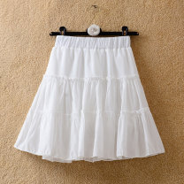 skirt Summer 2020 Average size Purple, white, black Short skirt commute High waist Cake skirt Solid color Type A 18-24 years old other other Ruffles, pleats, stitching Korean version