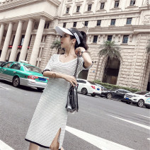 Dress Summer 2020 Black stripe, white stripe Average size Mid length dress singleton  elbow sleeve commute Crew neck Loose waist stripe Socket other routine Others Type H Korean version backless 81% (inclusive) - 90% (inclusive) other other