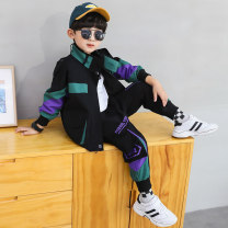 suit Other / other Green two-piece set, purple two-piece set 110cm,120cm,130cm,140cm,150cm,160cm male spring and autumn Korean version Long sleeve + pants 2 pieces routine There are models in the real shooting Zipper shirt nothing other other children Learning reward Class A Chinese Mainland