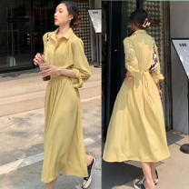 Dress Spring 2021 Yellow dress, black dress S,M,L,XL longuette singleton  Long sleeves commute Polo collar High waist Solid color Socket A-line skirt routine Others 18-24 years old Type A Retro Bow, tie, tie YC043# 81% (inclusive) - 90% (inclusive) Chiffon polyester fiber