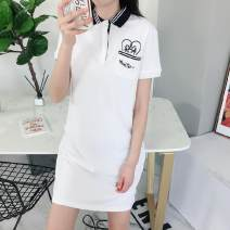 Dress Summer 2020 Milky white, Navy S/160,M/165,L/170 Mid length dress singleton  Short sleeve Polo collar Cartoon animation Socket other routine Others 18-24 years old More than 95% cotton