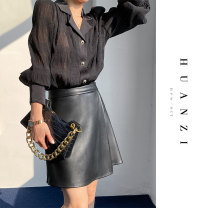skirt Winter 2020 S,M,L,XL Black, brown Short skirt sexy High waist A-line skirt Solid color Type A 25-29 years old