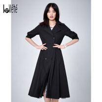 Windbreaker Autumn of 2019 XS S M L XL Long sleeves routine Medium length commute double-breasted tailored collar Solid color Skirt type 25-29 years old Button 96% and above cotton Cotton 100% Same model in shopping mall (sold online and offline)