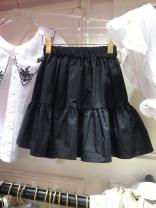 skirt Summer 2020 S,M,L,XL Black, apricot, white Short skirt Versatile Natural waist Cake skirt Solid color Type A 81% (inclusive) - 90% (inclusive) other cotton