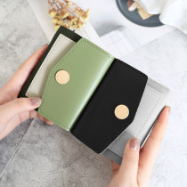 wallet Short Wallet PU KISS ME Pink beibai blue green black brand new Europe and America female Buckles Solid color 70% off Horizontal style youth Large banknote holder, photo slot, change slot Color contrast polyester fiber KM216-1 soft surface Spring / summer 2018 Pure e-commerce (online only)