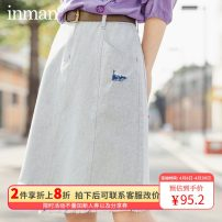 skirt Spring 2020 S,M,L,XL Blue and white Middle-skirt Retro High waist A-line skirt Solid color Type A 25-29 years old other Inman / Inman polyester fiber