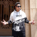 Sweater Youth fashion GxxH black and white 2XL,3XL,4XL,5XL,6XL,7XL originality Socket routine Hood winter easy leisure time Large size like a breath of fresh air routine Cotton 80% polyester 20% printing No iron treatment trend