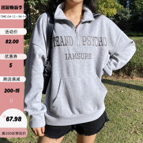 Sweater / sweater Winter 2020 grey S,M,L Long sleeves routine Socket singleton  routine stand collar easy street routine letter 18-24 years old 91% (inclusive) - 95% (inclusive) polyester fiber EUT8705W0J Resin fixation polyester fiber Cotton liner zipper Europe and America