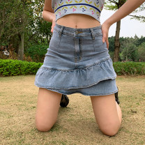 skirt Spring 2021 S,M,L Denim blue Short skirt Versatile High waist A-line skirt Solid color Type A 18-24 years old FGMAD10079 91% (inclusive) - 95% (inclusive) Denim polyester fiber Resin fixation, splicing