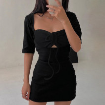 Dress Summer 2021 black S,M,L Middle-skirt singleton  Short sleeve commute square neck High waist Solid color Socket One pace skirt routine Others 18-24 years old Type H Hollowing out FGWLD01869 91% (inclusive) - 95% (inclusive) other cotton