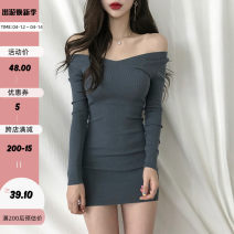 Dress Spring 2021 Red, grey, black S,M,L Short skirt singleton  Long sleeves commute V-neck High waist Solid color Socket routine Others 18-24 years old Type H Retro EUD8370W0J 51% (inclusive) - 70% (inclusive) cotton