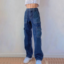 Jeans Autumn 2020 blue S,M,L trousers High waist Overalls routine 18-24 years old Button, patch, multi pocket, color contrast Cotton denim Dark color EUP6712W0I 51% (inclusive) - 70% (inclusive)