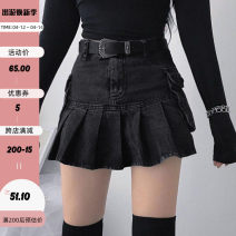 skirt Autumn 2020 S,M,L Black, leather buckle dark black, women's group pleated, sweet girl playful, oblique buckle skirt, British college, black lining Short skirt street High waist Pleated skirt Solid color Type A 18-24 years old EUMKD00024 91% (inclusive) - 95% (inclusive) polyester fiber