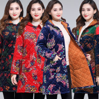 Middle aged and old women's wear Winter of 2019, autumn of 2019 Red Phoenix, Blue Phoenix, national style, floret XL,XXL,XXXL,4XL leisure time Cotton easy singleton  Decor 50-59 years old Cardigan thick Hood Medium length routine pocket Single breasted