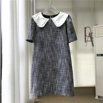 Dress Spring 2021 Picture color XS,S,M,L Short skirt singleton  Short sleeve commute High waist Socket routine C323 polyester fiber